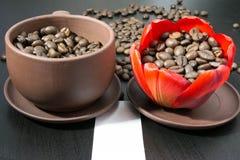 Grains de café en fleur rouge de bourgeon, papier avec votre signature Images stock