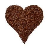 Grains de café en forme de coeur Image stock