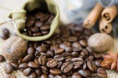 Grains de café et épices Photographie stock libre de droits