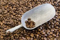 Grains de café et épuisette Photographie stock