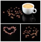 Grains de café et café frais dans la tasse blanche d'isolement sur le fond noir Photographie stock libre de droits