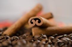 Grains de café et cannelle Photographie stock libre de droits