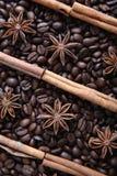 Grains de café et espèces Photo stock