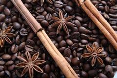 Grains de café et espèces Photographie stock libre de droits