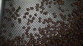 Grains de café fraîchement rôtis tombant dans un refroidisseur de rotation clips vidéos