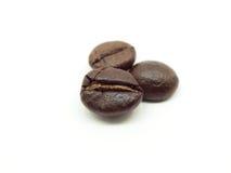 Grains de café frais d'isolement sur le fond blanc Photos libres de droits