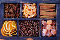 Grains de café, orange et kumquats sucrés et épices Image libre de droits