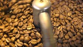 Grains de café rôtis dans la machine de torréfaction banque de vidéos