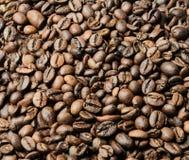Grains de café rôtis dispersés au-dessus de la surface entière du cadre Fond images stock