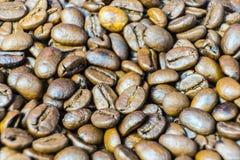 Grains de café rôtis en gros plan Fond des grains de café Photos stock
