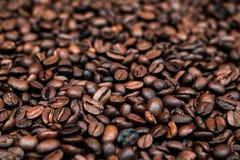 Grains de café rôtis Fermez-vous vers le haut de la vue photographie stock