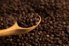 Grains de café rôtis et cuillère en bois image stock