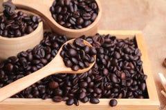 Grains de café rôtis sur le fond de brun de sac Photos libres de droits