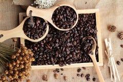 Grains de café rôtis sur le fond de brun de sac Images stock