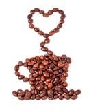 Grains de café sous forme de cuvette et de vapeur de café Image stock