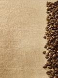 Grains de café sur la toile de jute photo stock