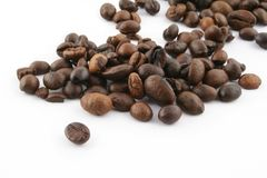 Grains de café sur le blanc Image libre de droits