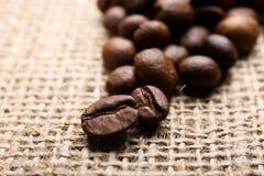 Grains de café sur le fond de toile de jute Images stock