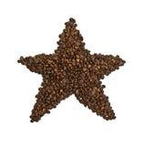 Grains de café sur un fond blanc Images libres de droits