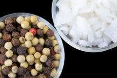 Grains de poivre et sel cru de mer Image stock