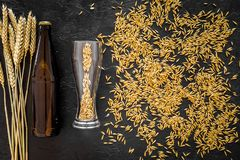 Grains and ears of malting barley near beer bottle on black background top view. Grains of malting barley near beer bottle on black background top view Stock Photography