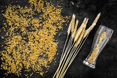 Grains and ears of malting barley near beer glass on black background top view.  Stock Images