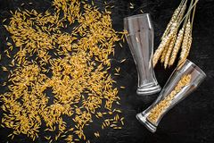 Grains and ears of malting barley near beer glass on black background top view.  Royalty Free Stock Image
