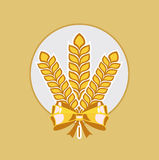 Grains and golden ribbon flat design icon Stock Photo