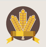 Grains and golden ribbon quality badge flat design Royalty Free Stock Photography
