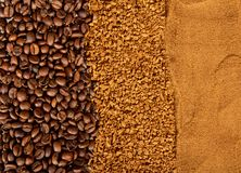 Grains, instant and ground coffee Royalty Free Stock Image