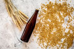Grains of malting barley near beer bottle on grey background top view copyspace. Grains of malting barley near beer bottle on grey background top view Stock Photos