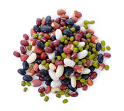Grains mix beans on white background stock image