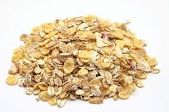 Grains of muesli. On white background Stock Images