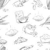Grains organiques de ferme, céréales, blé, orge, seigle, avoine, modèle sans couture de vecteur de riz Images libres de droits