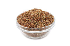 Grains of rice in a glass bowl Royalty Free Stock Photography