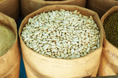 Grains for sale at the market.  Royalty Free Stock Photo