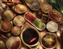 Grains and seeds. Millet,grains,species and vegetables in over view royalty free stock photo