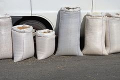 Bulk sacks. Grains and seeds in bulk sacks stock images