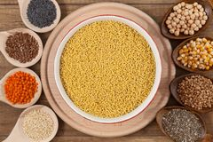 Grains and seeds variety - healthy food concept royalty free stock photography