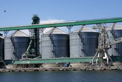 Grains storage silos Royalty Free Stock Photography