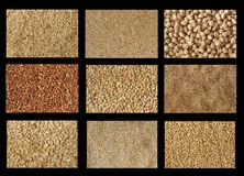 Grains textures. Of brown rice, quinoa, garbanzo beans, buckwheat, lentils, flax, still cut oats, oat bran, raw oats Royalty Free Stock Photos