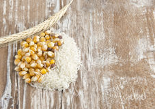 Grains on Wood background. Texture on isolated Stock Photography