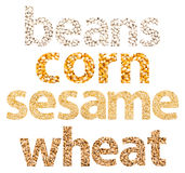 Grains Words Abstract Made Of Different Seeds Royalty Free Stock Photography
