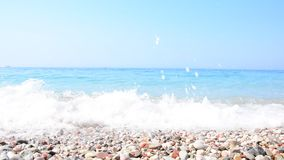 Grainy sand tropical beach, blue ocean sea wave washes the shore. Montenegro beach.  stock video
