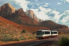 Grainy Tram against Red Rocks stock image