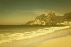 Grainy vintage view of Ipanema Beach royalty free stock images