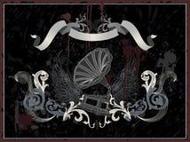 Gramófono con el ala, montante retro del grunge Stock de ilustración