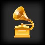 Gramófono del oro. Imágenes de archivo libres de regalías