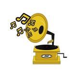Gramófono retro del vintage con las notas de la música libre illustration