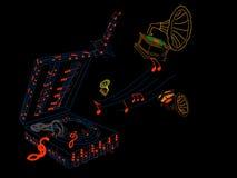 Gramófono viejo con la representación de las notas musicales 3D Fotografía de archivo